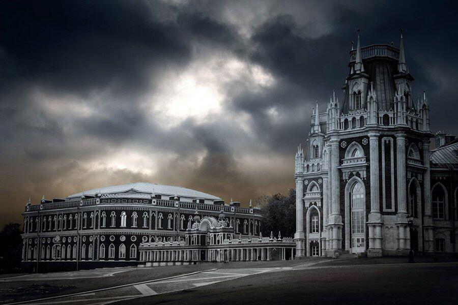 Palace of Tsaritsyno park. Moscow, Russia. Winter. Holidays, celebration.