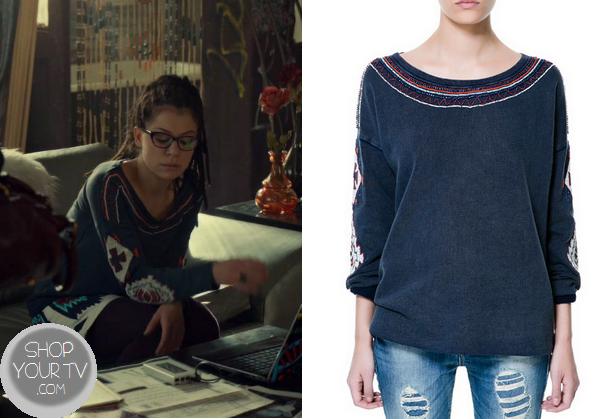 Orphan Black: Seasons 1 Episode 10 Cosima's Navy Aztec Sweater - ShopYourTvShopYourTv