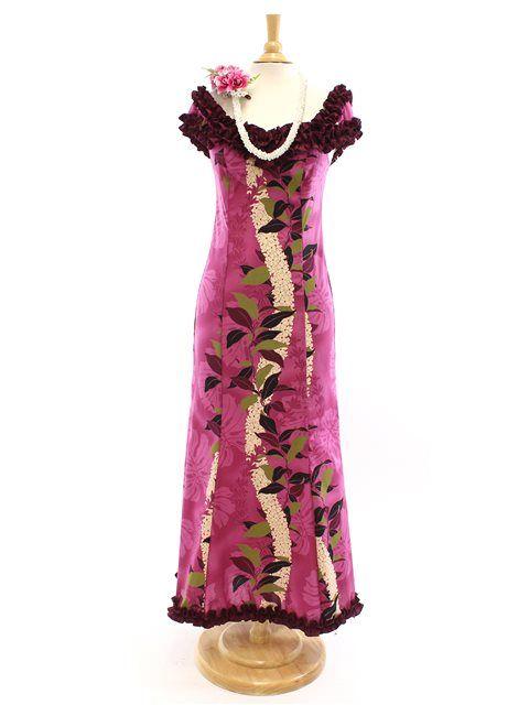 Royal Hawaiian Creations Nahenahe Ruffle Long Muumuu Dress [Monstera ...