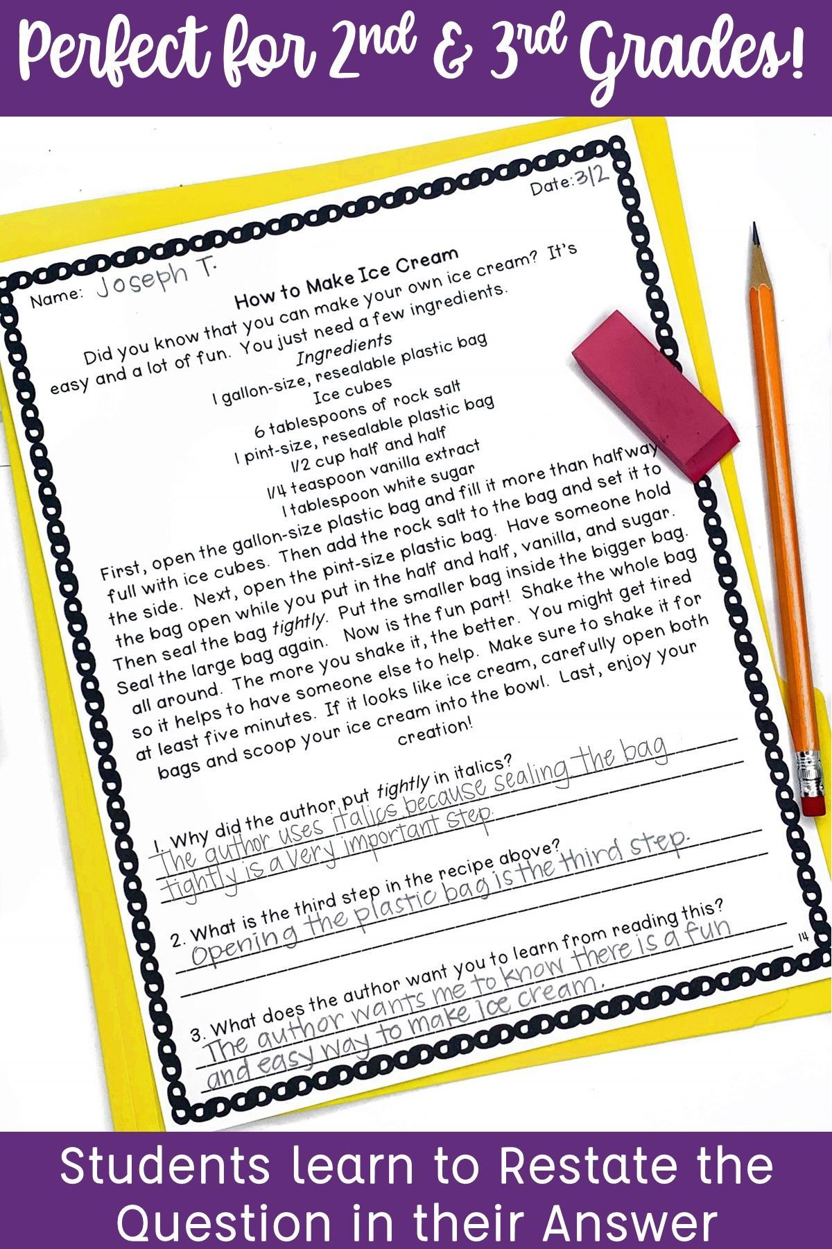 Reading Comprehension With Open Ended Questions 2nd Grade
