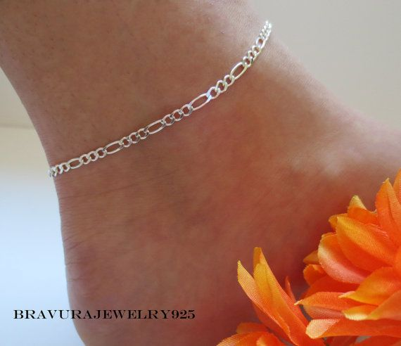 silver jewelry chain sterling inch products bracelet item anklet classic adjustable wholesale beaded bracelets ankle figaro photo