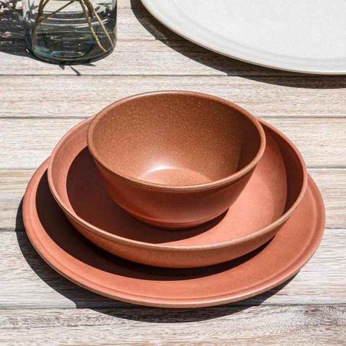 45oz Melamine And Bamboo Dinner Bowl Brown Threshold In 2020 Dinner Bowls Dinner Plates Plates