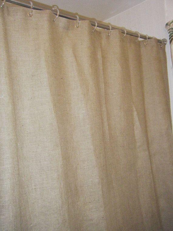 Burlap Shower Curtain 72 Wide X 96 Long Premium Grommet Top By Jackie Dix