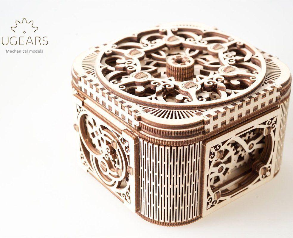 Mechanical puzzle ugears treasure box 3d model wooden