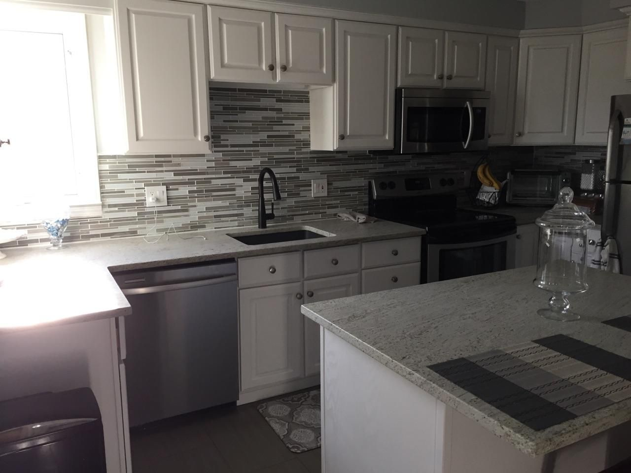 Sherwin Williams Snowbound Spray Painted Cabinets Granite River White Leather Finish From Ellemar Backsplash Painting Cabinets Spray Paint Cabinets Cabinet