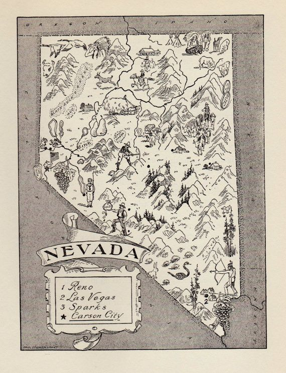 50s Whimsical NEVADA Map of Nevada State Map Reprint Black and