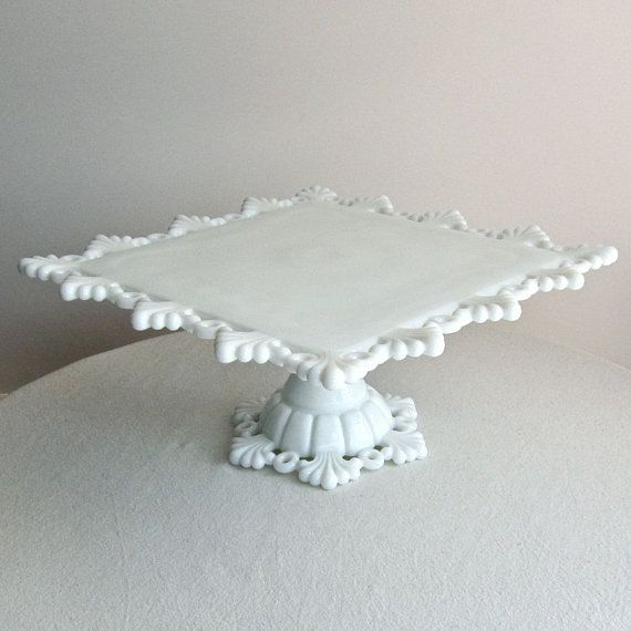 Westmoreland Milk Glass Cake Stand Square Petal And Ring