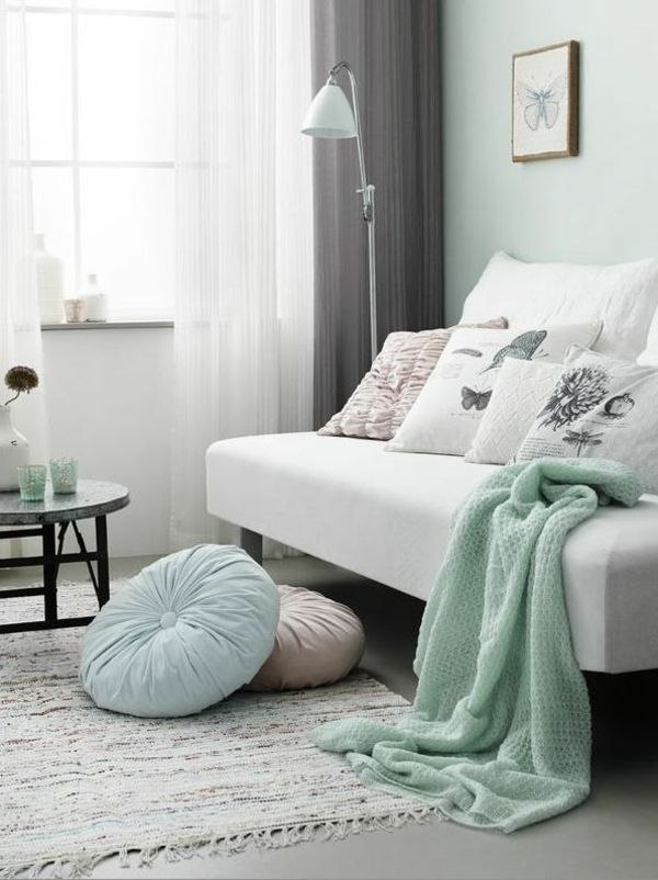 mintgrün in stilvoller kombination mit weiß und grau | babyzimmer, Schlafzimmer design