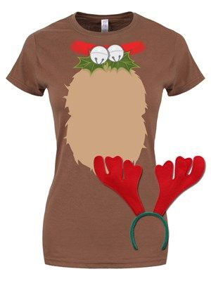 Reindeer T Shirt With Antlers Christmas Costume Ladies Christmas T Shirt Design Reindeer Shirt Christmas Costumes