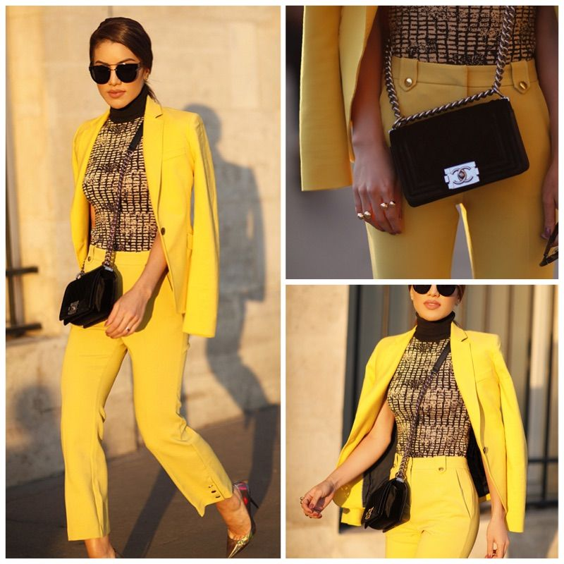 camila paris fashion week look terninho amarelo