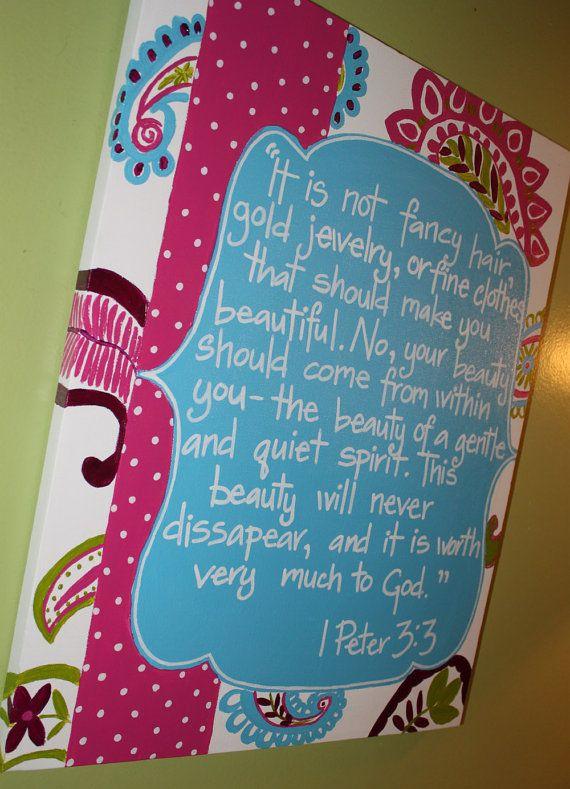 Girls Room Custom Art Pink Green Turquoise Paisey Polka Dot 1 Peter 3:3. $58.00, via Etsy.