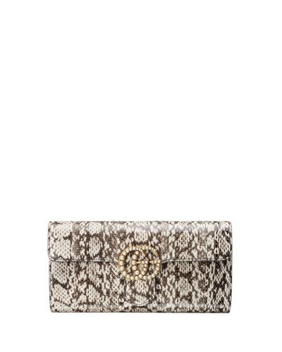 35c0017495 GUCCI Gg Marmont Pearly Snakeskin Clutch Bag