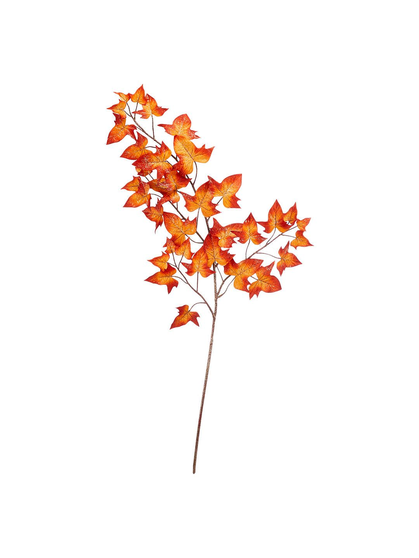 John Lewis & Partners Amber Glitter Autumn Leaf Spray, Orange in ...