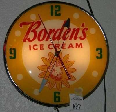Image detail for -... , Inc. Image 1 Vintage Borden Ice Cream Backlit Advertising Clock