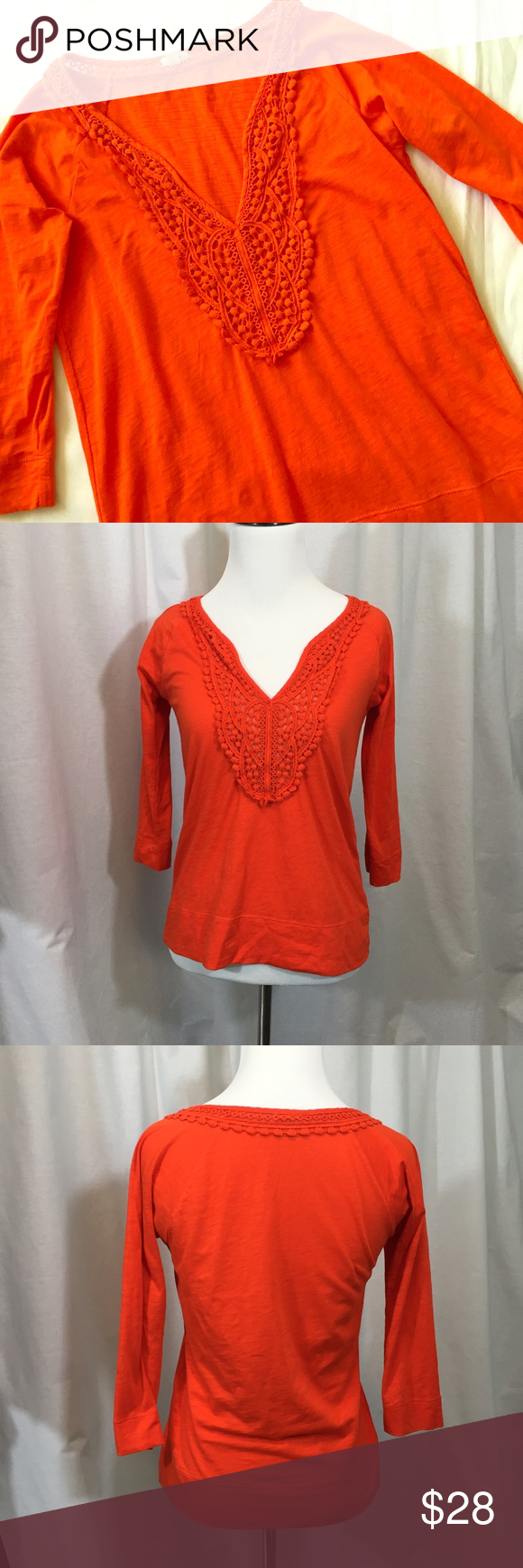 1a6e43f5f43c4a J. Crew Lace Pompom Detail V Neck Top Orange EUC vibrant orange 3 4 sleeve  top with lace detail around neck. No stains or imperfections.