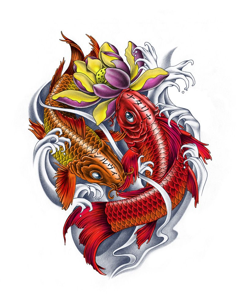 Girly Koi Fish Tattoos Family Koi Fishes Color Version By Ca5per