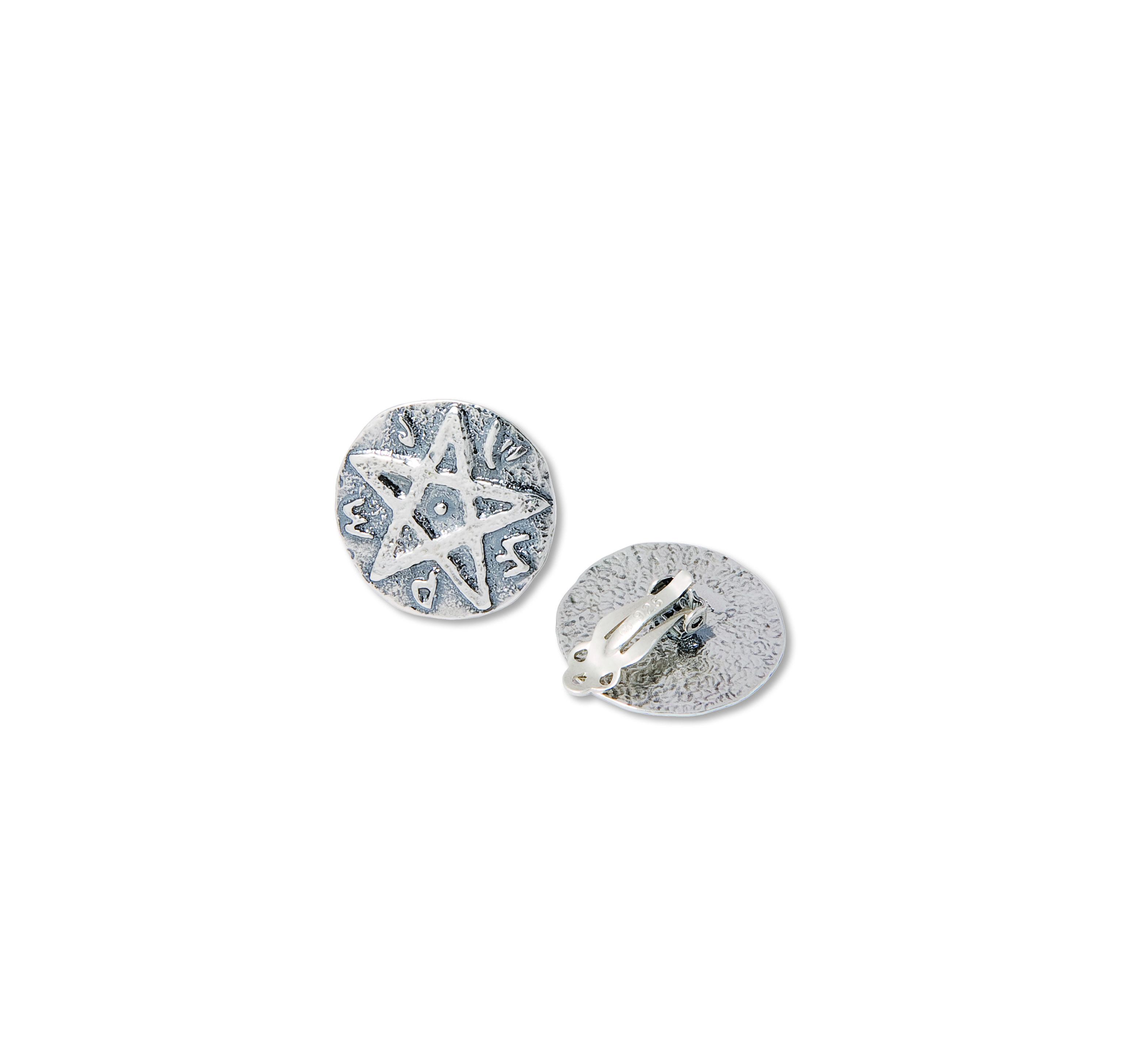 Sterling Silver Seal Of Solomon Clip On Earrings Made In Israel Design