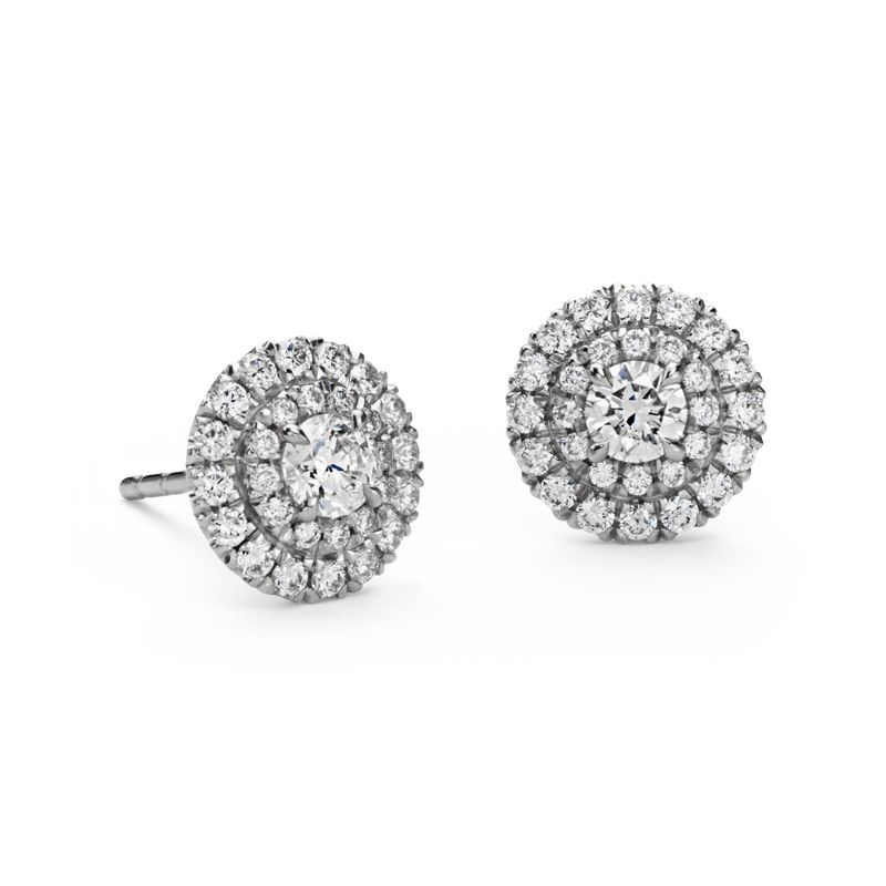 037b94c7da8 Double Halo Diamond Stud Earrings in 18k White Gold (3 4 ct. tw ...