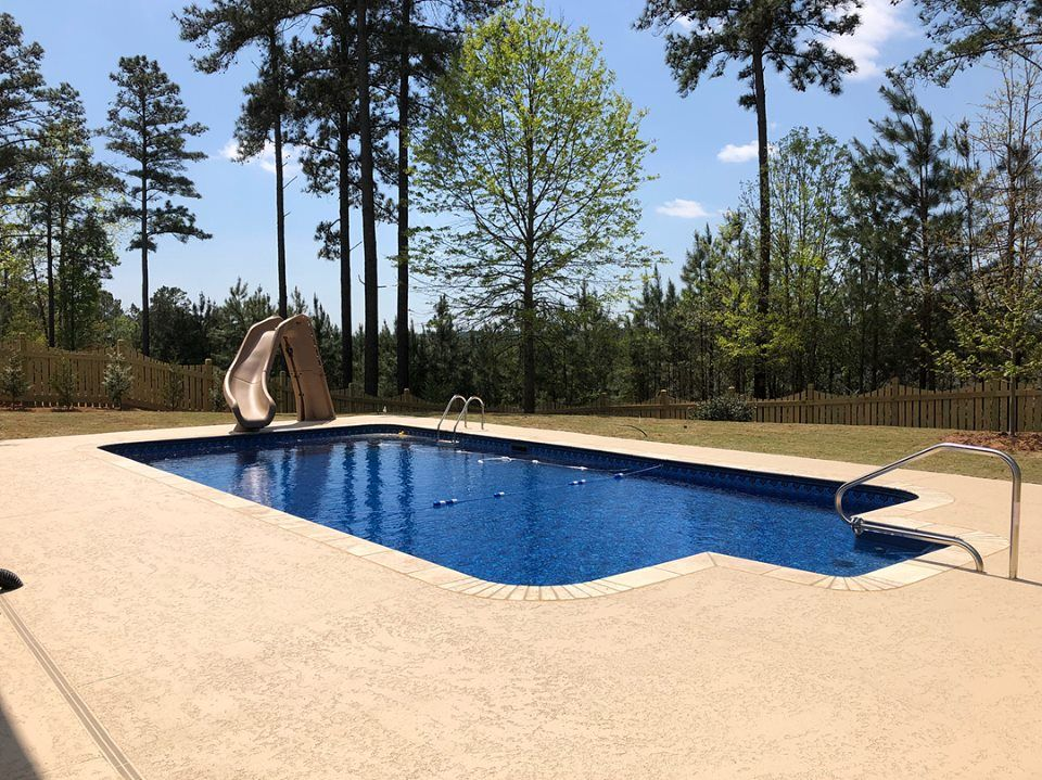Vinyl Liner Swimming Pool And Slide Built By Brown S Pools Spas Covering Metro Atlanta And All Of West Georgia Pool Spa Pool Backyard Vacation