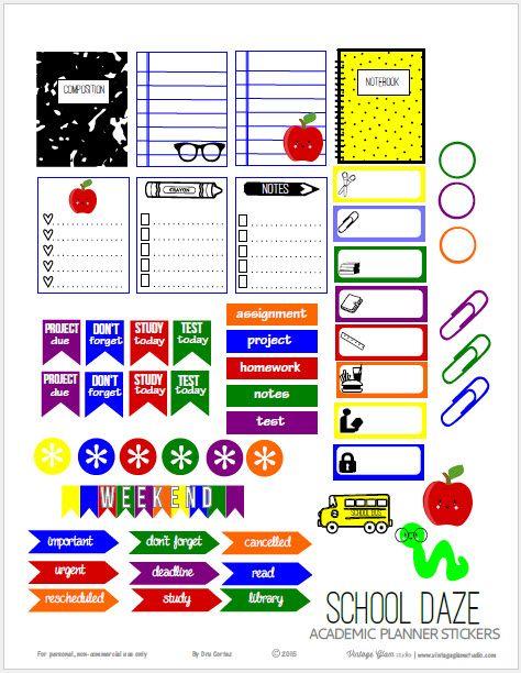 school daze planner stickers free printable download