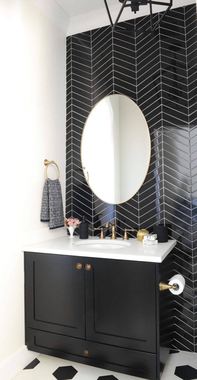 11 Bathrooms With Black Herringbone Tiles Black Tile Bathrooms Tile Accent Wall Bathroom Wall Tile