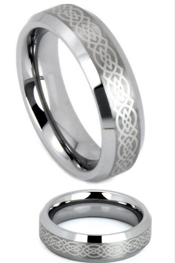 6mm Celtic Laser Etched Design Crafted Out Of Tungsten Carbide Matching Wedding BandsWedding