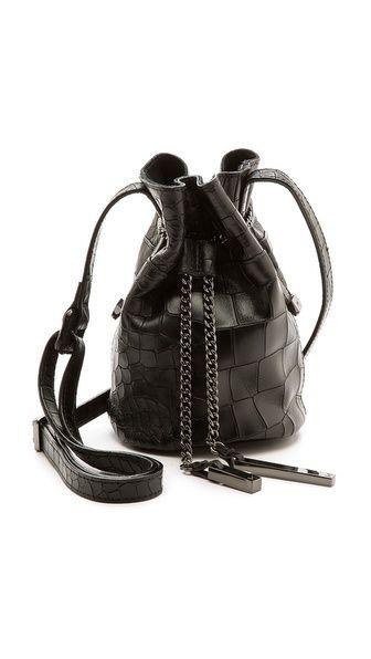 9e3fb113ea43 Halston Heritage Croc Embossed Mini Bucket Bag