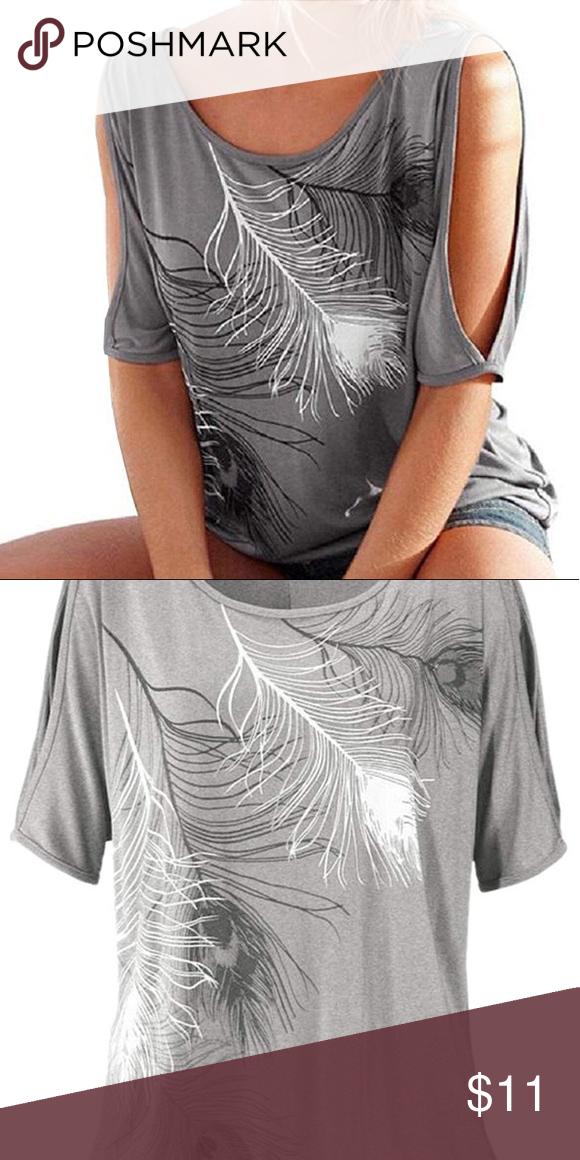 3703209fb401e Cold Shoulder T-shirt Gray