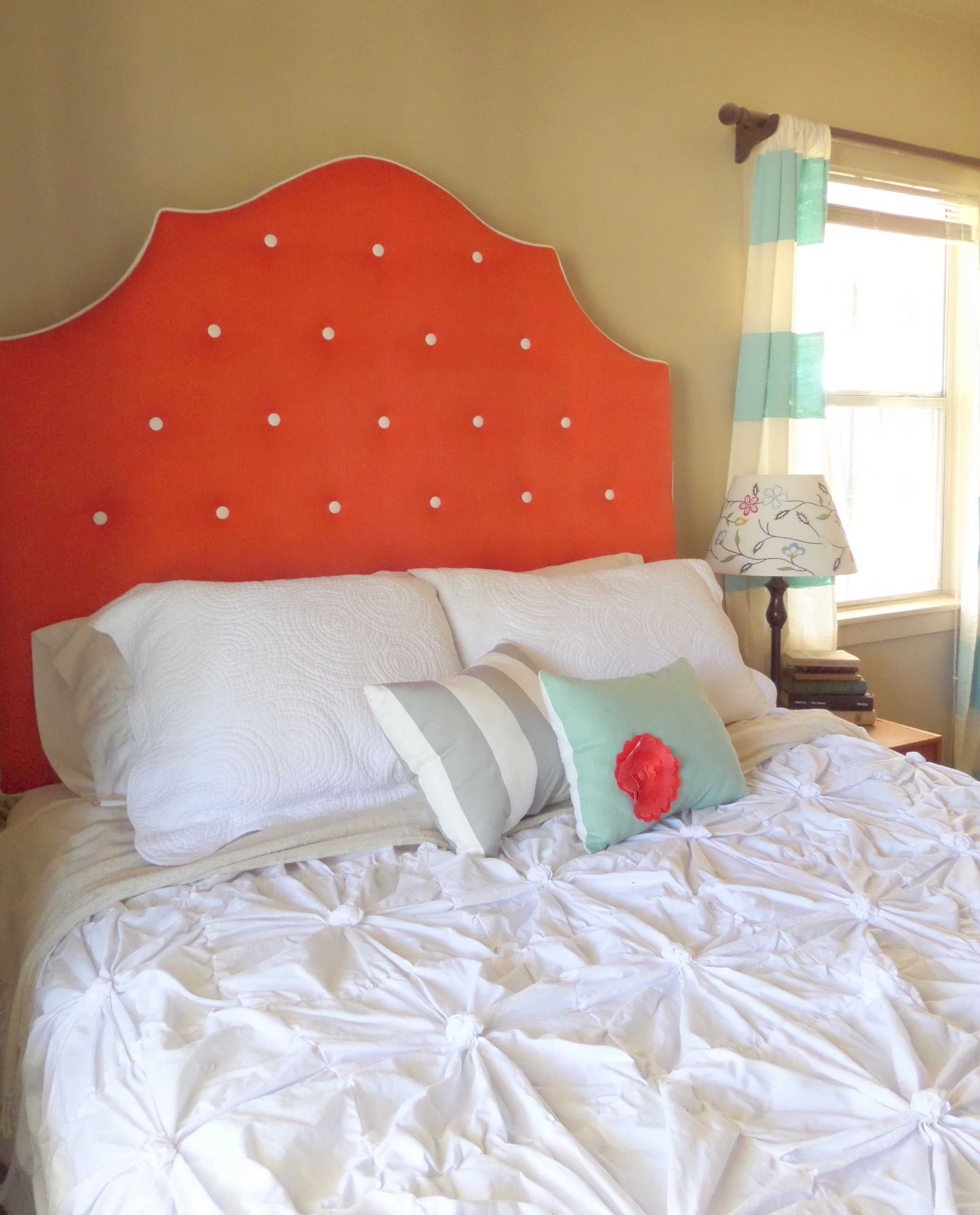 Queen sized extra tall orange coral tufted upholstered