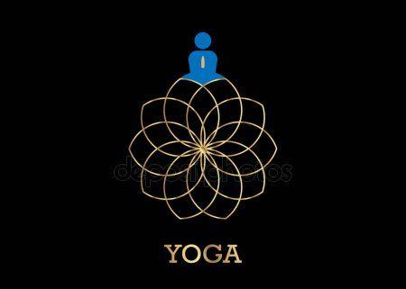 people yoga studio logo and gold lotus flower emblem icon