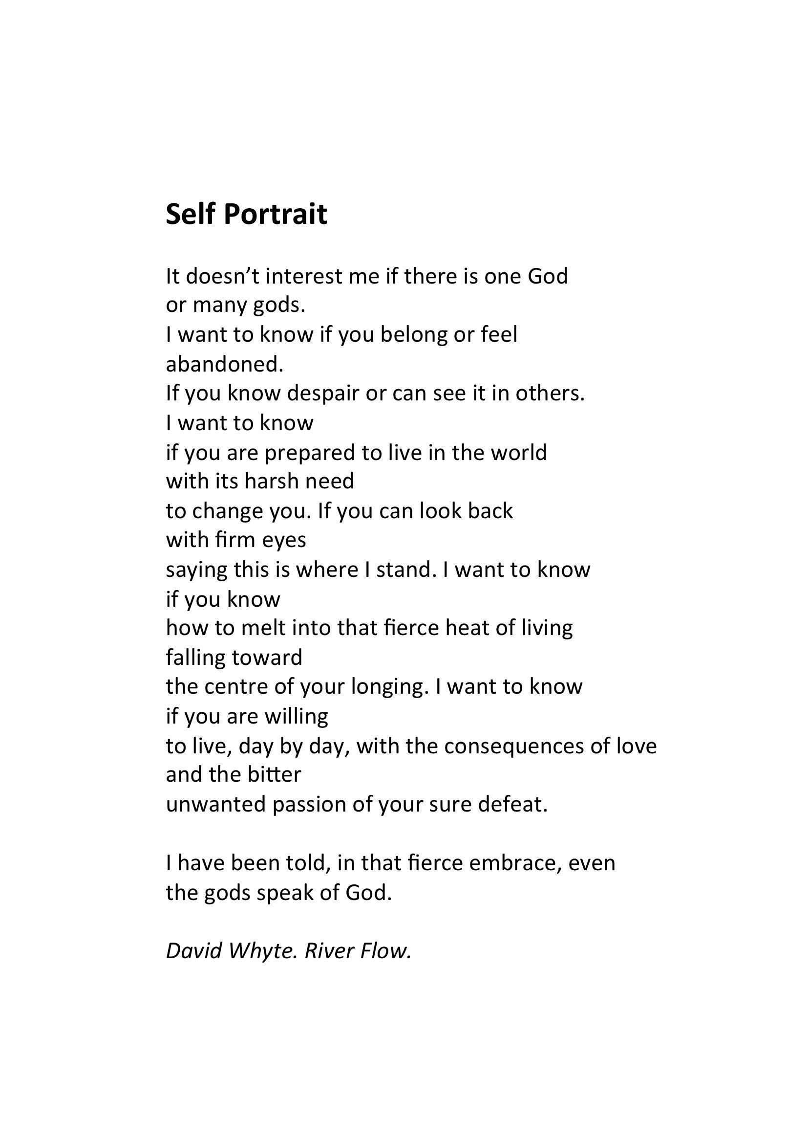 David Whyte Poem 2 November 1955 Age 59 Mirfield