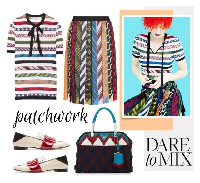 """""""All Patched Up: Patchwork"""" by emavera ❤ liked on Polyvore featuring Mary Katrantzou, Prada, patchwork, marykatrantzou and bally"""