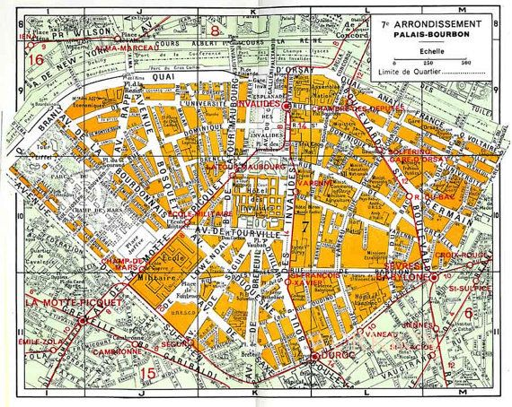 Eiffel tower area of Paris. Vintage map of 7th 7e by
