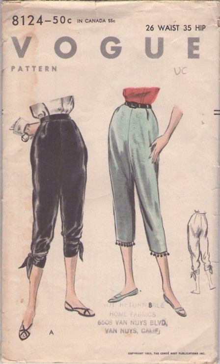 Vogue 8124 Vintage 50\'s Sewing Pattern High Waist Capri Pants | diy ...