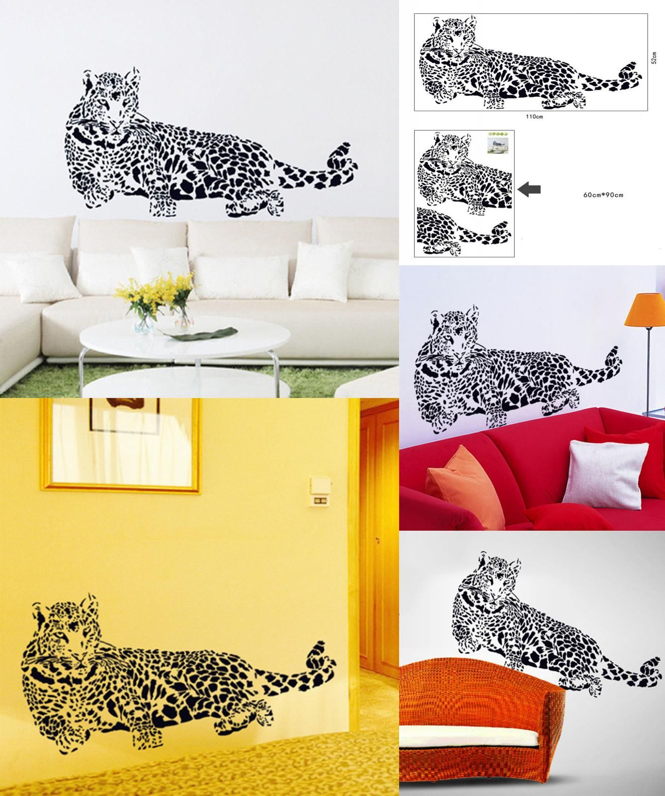 Visit to Buy] Black PVC Wall Stickers Cheetah Leopard 3D Removable ...
