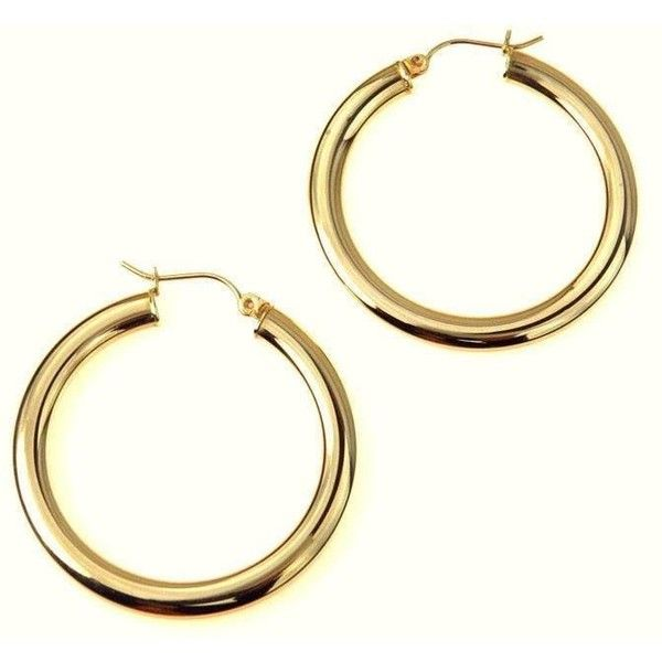 10k Gold Hoop Earrings 723 315 COP ❤ liked on Polyvore