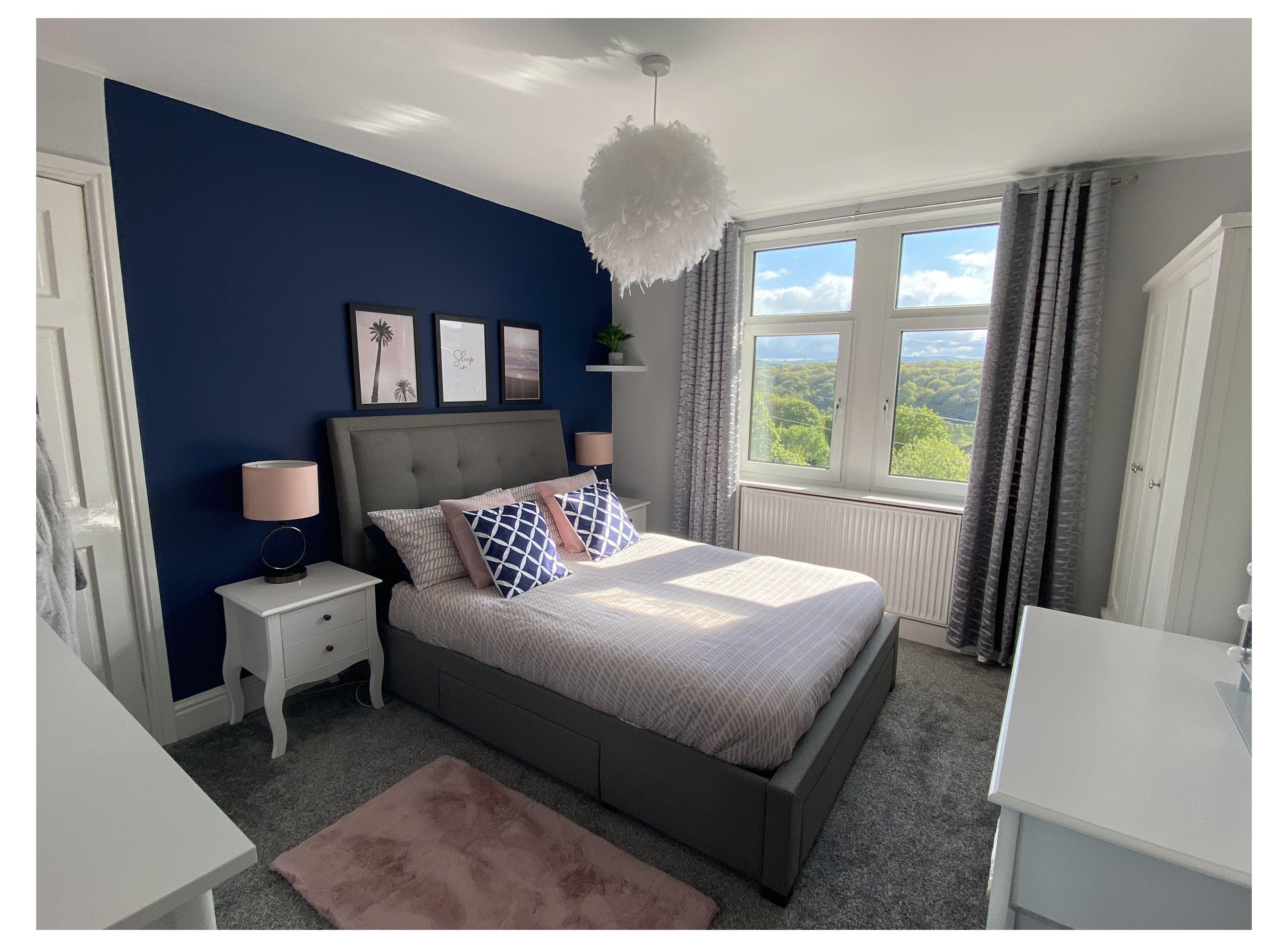Dulux Sapphire Salute Grey And Navy Bedroom Furniture Greyandnavybedroomfurniture In 2021 Blue Bedroom Walls Blue Bedroom Decor Blue Bedroom