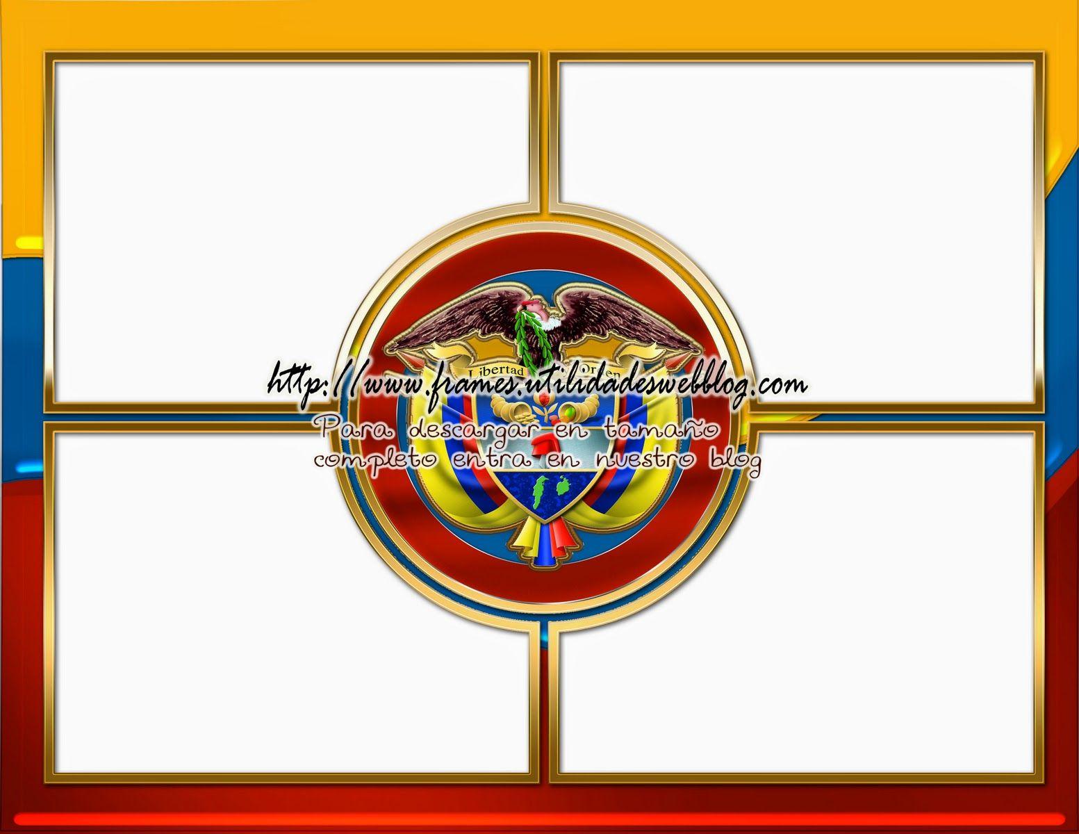 Bellisimo marco para fotos con la bandera y escudo Colombiano ...