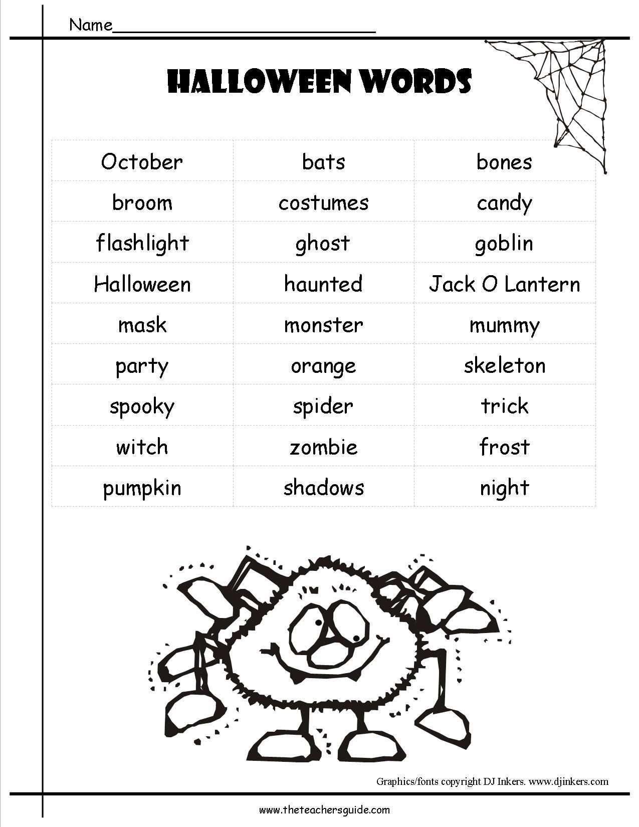 Halloween Printouts from The Teacher\u0026#39;s Guide   Halloween worksheets [ 1650 x 1275 Pixel ]