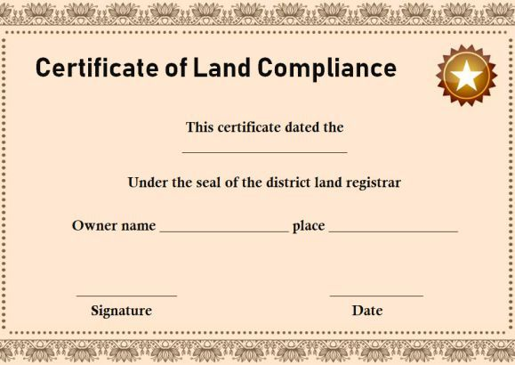 certificate of compliance land registry template