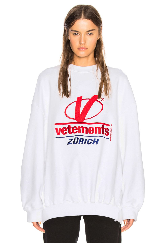Image 2 Of Vetements Zurich Embroidery Sweatshirt In White Winter