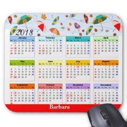 Calendar Sample Design 2018 Calendar On Umbrella Pattern Mousepad  Mousepad