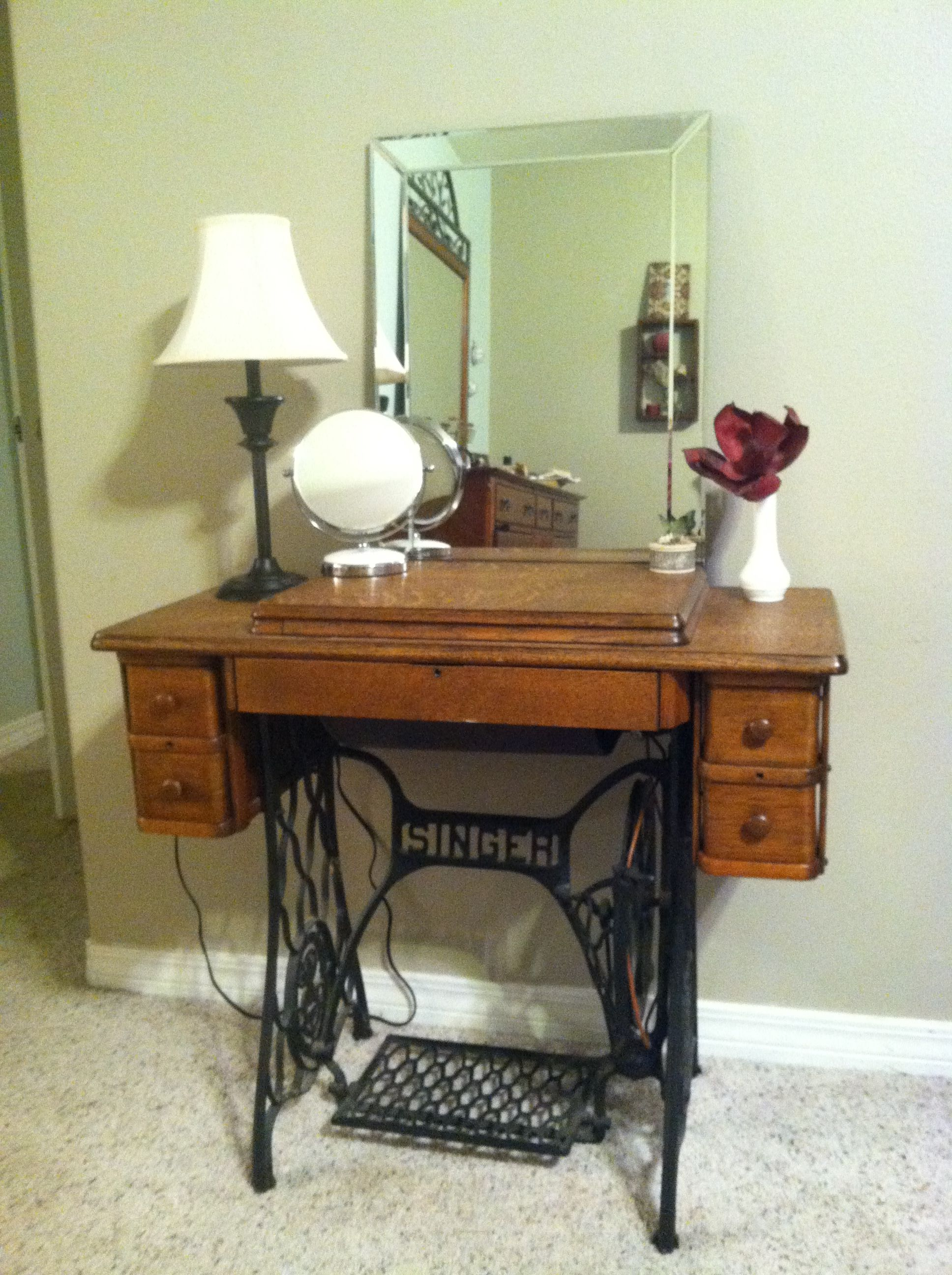 Needed a vanity so I got creative with an old sewing ...