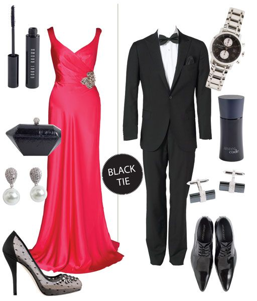 Wedding reception guest dress code black tie