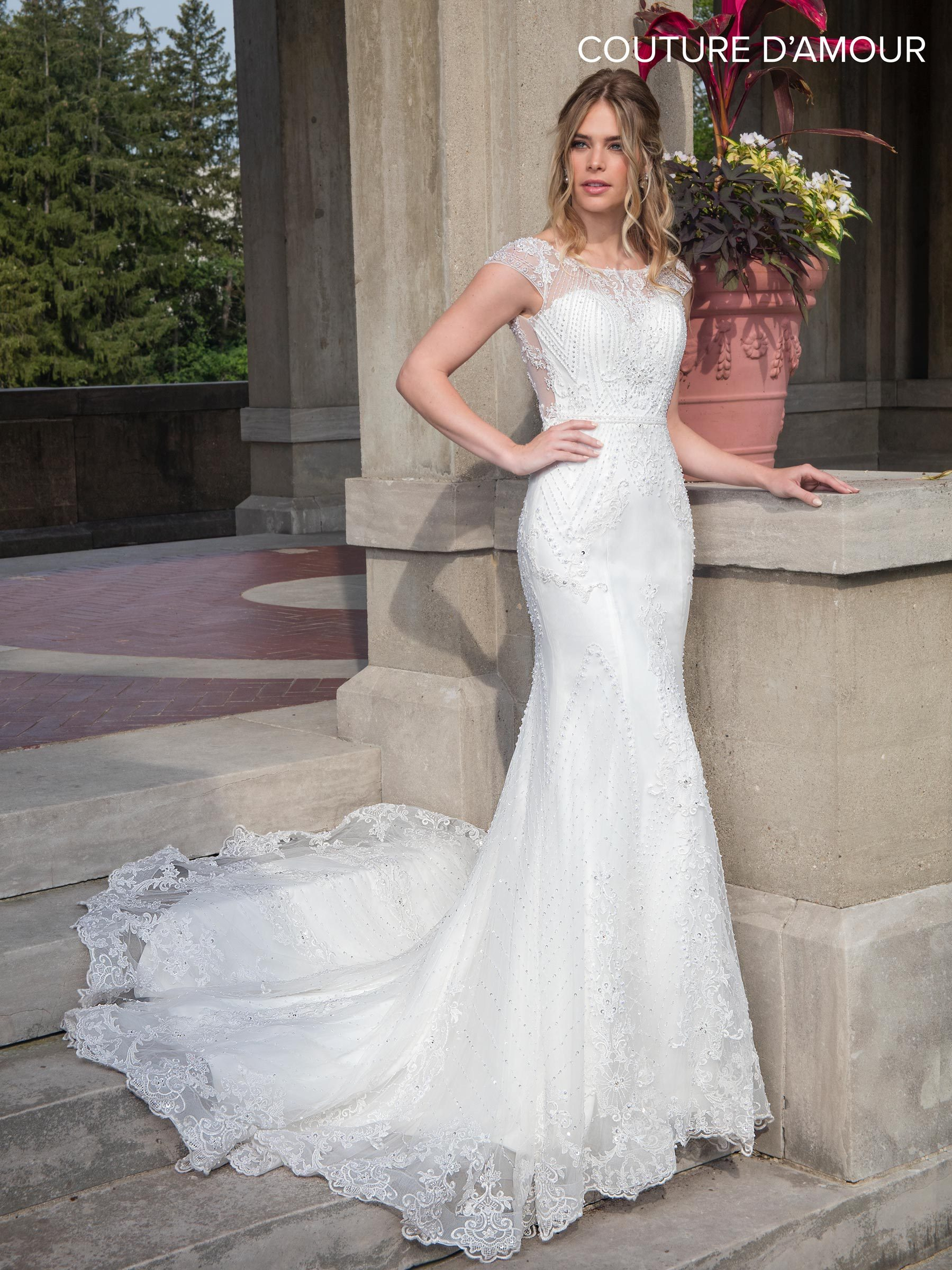 Illusion Cap Sleeve Mermaid Wedding Dress By Mary S Bridal Mb4001 Wedding Dresses Unique Couture Bridal Gowns Wholesale Wedding Dresses [ 2400 x 1799 Pixel ]