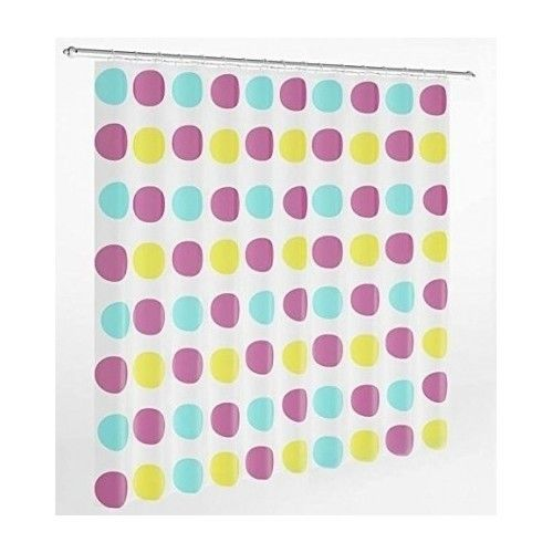 Bathroom Shower Curtain Liner Kids Polka Dot Turquoise