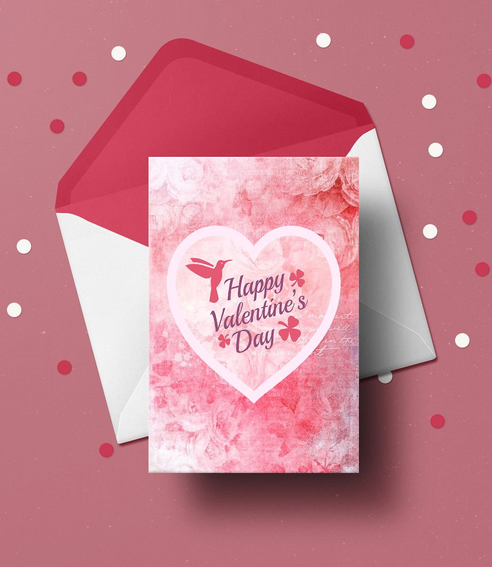 Happy Pink Heart Valentine S Day Card Template Valentines Day