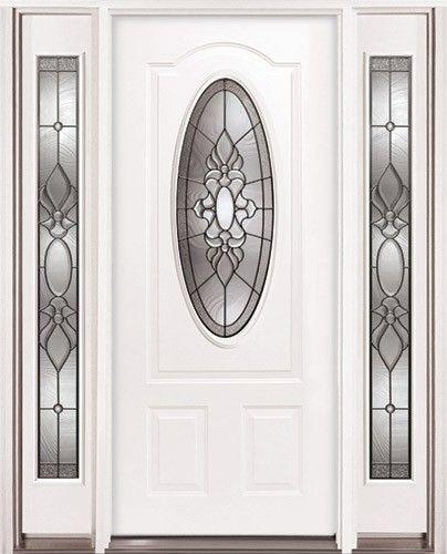 Wonderful 3/4 Oval Steel Prehung Door Unit With Sidelites #64