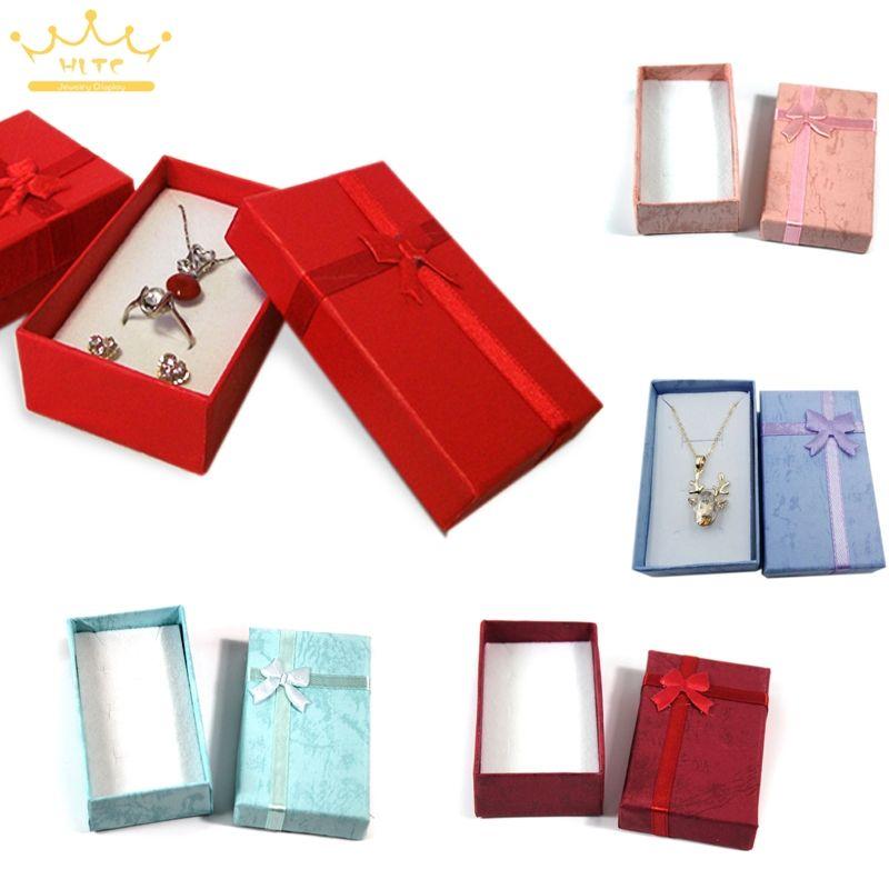 Grosir Aneka Warna Jewelry Set Tampilan Box Kalung Anting Cincin Kotak 5*8*2.5 cm Kemasan Kotak Hadiah campuran Pengiriman Gratis
