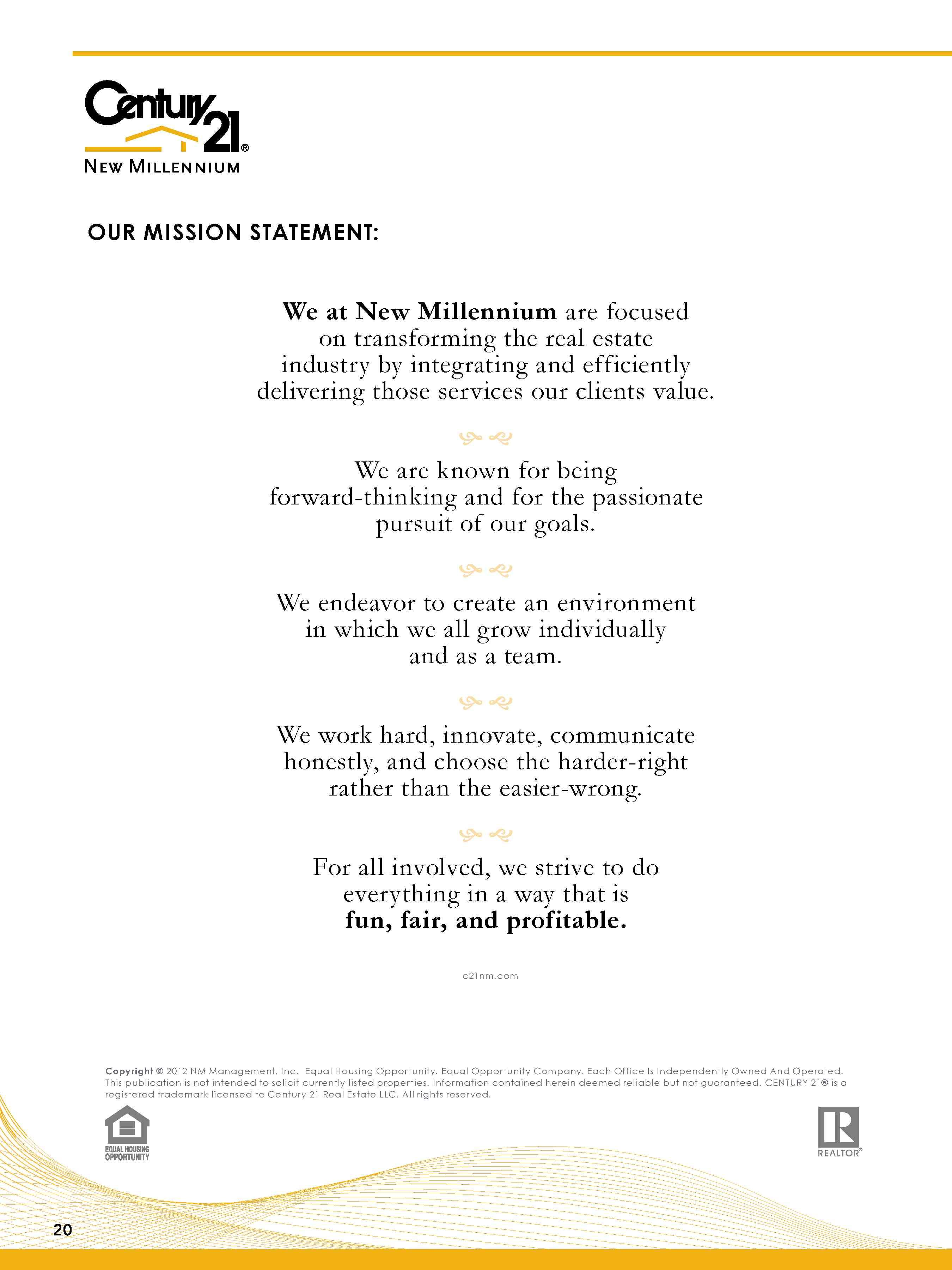 Listing Presentation Mission Statement Page   Century  New